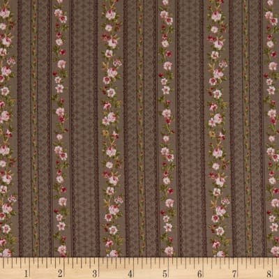Stoffabric Denmark Juliet Roses Border Stripes With Roses Taupe