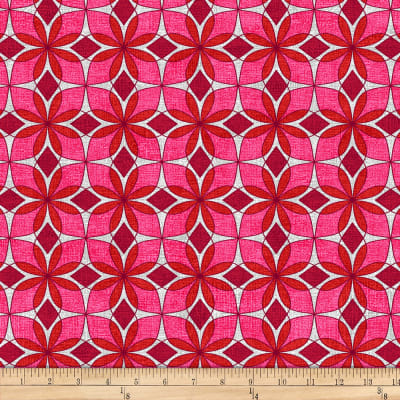 Stoffabric Denmark Vilma Graphic Flowers Pink/Grey