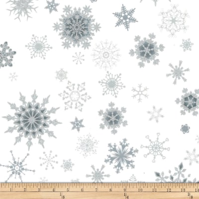 Stoffabric Denmark Christmas Wonders Snowflakes Metallic/White