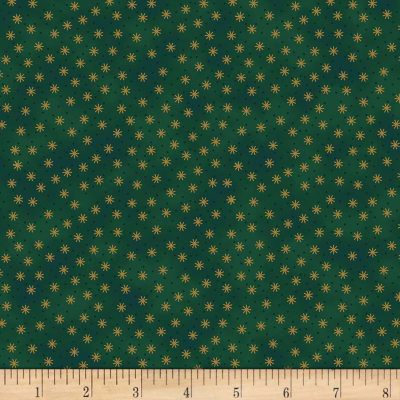 Stoffabric Denmark Christmas Wonders Small Stars in Gold Metallic Green