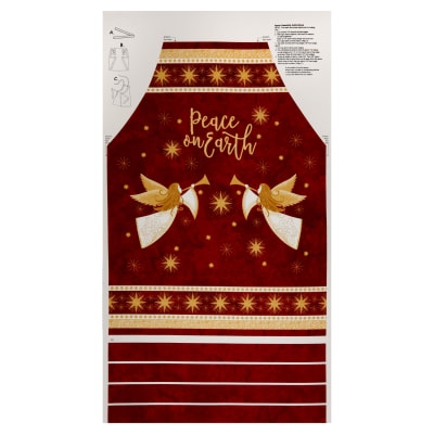 "Northcott Angels Above Metallic Apron 24"" Panel Red"