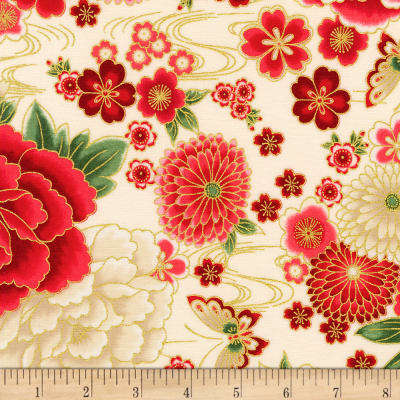 Kaufman Imperial Collection Metallic 15 Flowers Spring