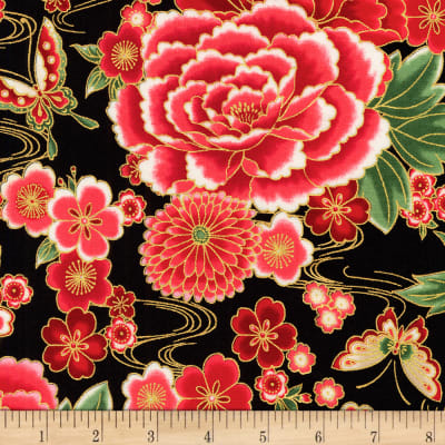 Kaufman Imperial Collection Metallic 15 Flowers Black