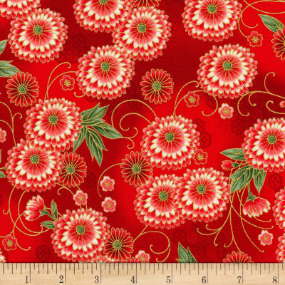 Kaufman Imperial Collection Metallic 15 Floral Red
