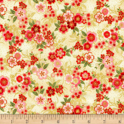 Kaufman Imperial Collection Metallic 15 Tiny Floral Ivory