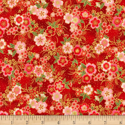 Kaufman Imperial Collection Metallic 15 Tiny Floral Red