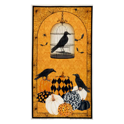 "Northcott Raven's Claw Birds and Cage Panel 24"" Orange"
