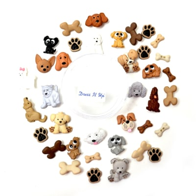 Dress it Up Embellishments Buttons Bow Wow