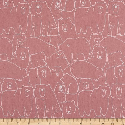 Elite Creator's Room Bears  Cotton/Linen Canvas Pink