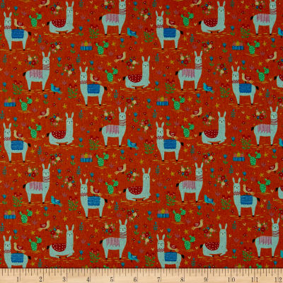 Kokka Animal World Llama Canvas Orange