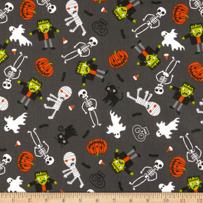 Fabric Editions Holiday Halloween Party Spooky Things Grey