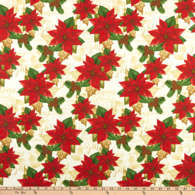 Fabric Editions Holiday Merry & Bright Poinsettia on Music Paper Multi