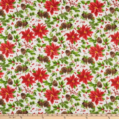 Fabric Editions Holiday Christmas Floral Poinsettia and Pine Cones White
