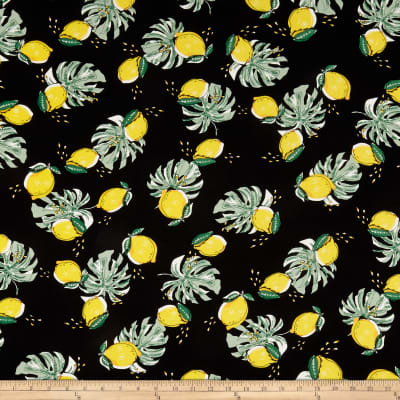 Telio Viscose Challis Print Lemon Black