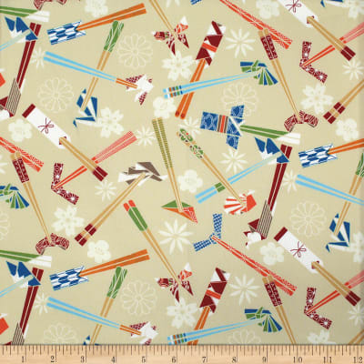 Trans-Pacific Textiles Asian Origami and Chopsticks Beige