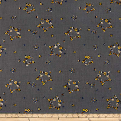 Italian Digital Print Wool/Viscose Gray/Yellow