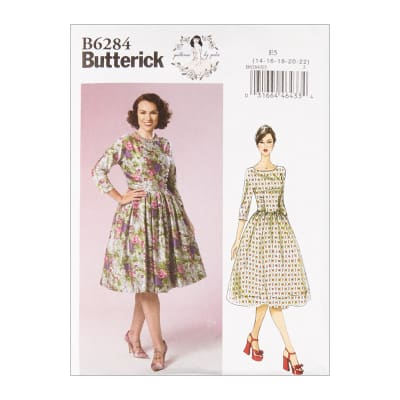 1950s Fabrics & Colors in Fashion Butterick B6284 Patterns by Gertie Misses Dress E5 (Sizes 14-22) $11.97 AT vintagedancer.com