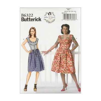 Butterick B6322 Patterns by Gertie Misses' Ruched Corset-Style Dress A5 (Sizes 6-14)