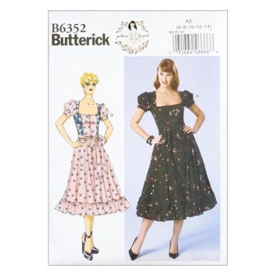 1940s Fabrics and Colors in Fashion Butterick B6352 Patterns by Gertie Petite Square-Neck Puff Sleeve Dresses A5 (SZ 6-14) $11.97 AT vintagedancer.com