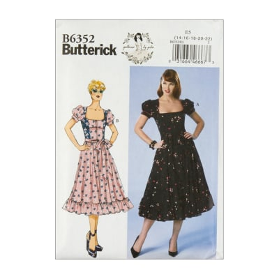 Butterick B6352 Patterns by Gertie Petite Square-Neck, Puff Sleeve Dresses E5 (SZ 14-22)