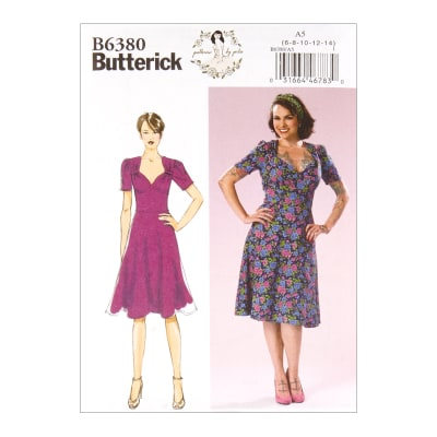 1940s Fabrics and Colors in Fashion Butterick B6380 Patterns by Gertie Sweetheart Dress w/ Gathered Bodice A5 (SZ 6-14) $11.97 AT vintagedancer.com