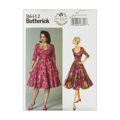 1950s Sewing Patterns | Dresses, Skirts, Tops, Mens Butterick B6412 Patterns by Gertie Sweetheart-Neckline Full-Skirted Dress A5 (Sizes 6-14) $11.97 AT vintagedancer.com