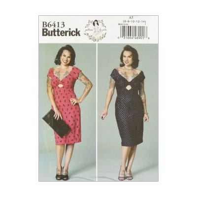 Butterick B6413 Patterns by Gertie Misses' Gathered-Front, Keyhole Dress A5 (Sizes 6-14)