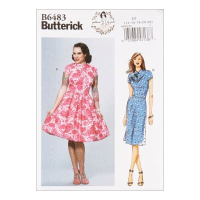 1950s Sewing Patterns | Dresses, Skirts, Tops, Mens Butterick B6483 Patterns by Gertie Dresses w/ Mandarin Collar & Skirt Options A5 (SZ 6-14) $11.97 AT vintagedancer.com