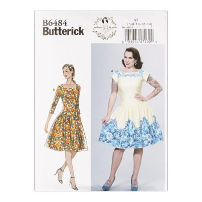 1950s Fabrics & Colors in Fashion Butterick B6484 Patterns by Gertie Square-Neck Dropped-Waist Dresses A5 (SZ 6-14) $5.71 AT vintagedancer.com