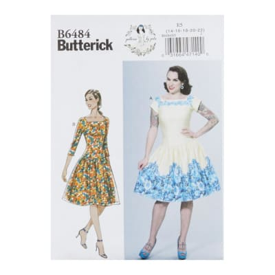 Butterick B6484 Patterns by Gertie Square-Neck, Dropped-Waist Dresses and E5 (SZ 14-22)