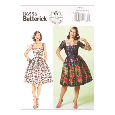 1950s Fabrics & Colors in Fashion Butterick B6556 Patterns by Gertie Misses Dress E5 (Sizes 14-22) $11.97 AT vintagedancer.com