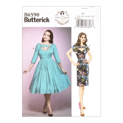 1950s Sewing Patterns | Dresses, Skirts, Tops, Mens Butterick B6590 Patterns by Gertie Misses Dress E5 (Sizes 14-22) $11.97 AT vintagedancer.com