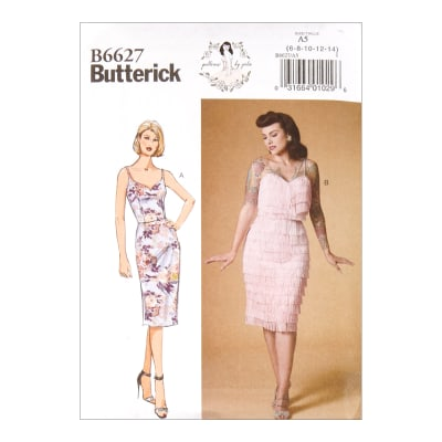 1950s Fabrics & Colors in Fashion Butterick B6627 Patterns by Gertie Misses Dress A5 (Sizes 6-14) $9.29 AT vintagedancer.com