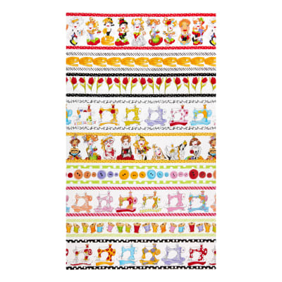 "Loralie Designs Sew Curious Curious 24"" Border Panel White"