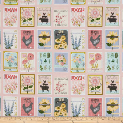 """Poppie Cotton Prairie Sisters Country Mix Digital 24"""" Panel Pink"""