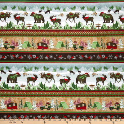 Henry Glass Flannel Woodland Haven Winter Scenic Novelty Stripe Brown/Multi