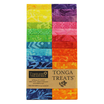 "EXCLUSIVE Timeless Treasures Tonga Treats Batiks 2.5"" Strip Pack 20 Pcs Celebrate"