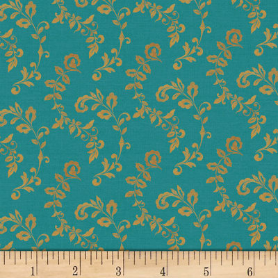 Mumbai Scroll Turquoise/Gold