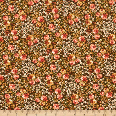 Double Brushed Poly Jersey Knit Mini Floral Garden Olive