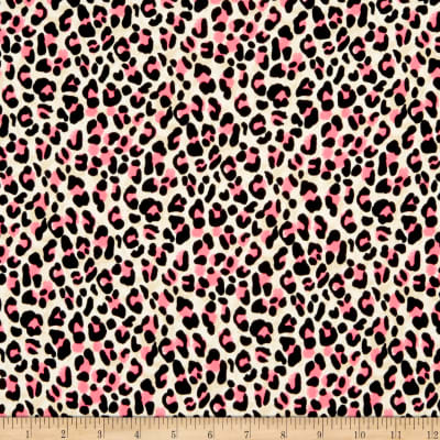 Double Brushed Poly Jersey Knit Cheetah Neon Pink