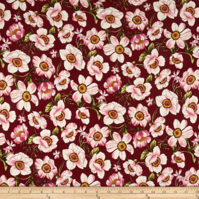 Double Brushed Poly Jersey Knit Blooming Floral Wine/Mauve