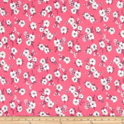 Double Brushed Poly Jersey Knit Mini Floral Pink/Grey