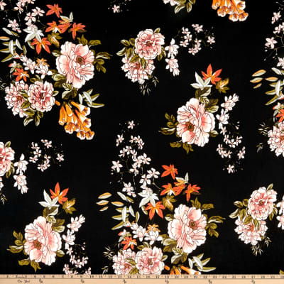 Double Brushed Poly Jersey Knit Floral Garden Black/Coral
