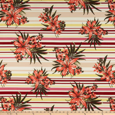 Liverpool Double Knit Stripe Floral Wine/Coral