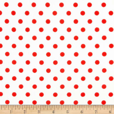 Liverpool Double Knit Polka Dot Red on Off White