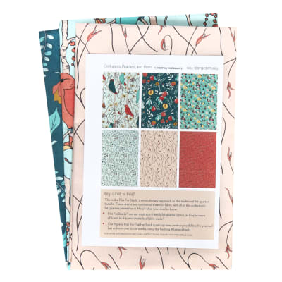 Cockatoos, Peaches, and Pears Fat Quarter Pack 6 Pcs Turquoise