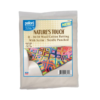 """Pellon® Q - 50/50 Wool/Cotton Batting With Scrim  - Needle Punched.  Craft Size: 34"""" x 45"""" Package"""