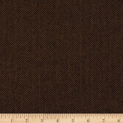 Herringbone Wool Suiting Dark Brown