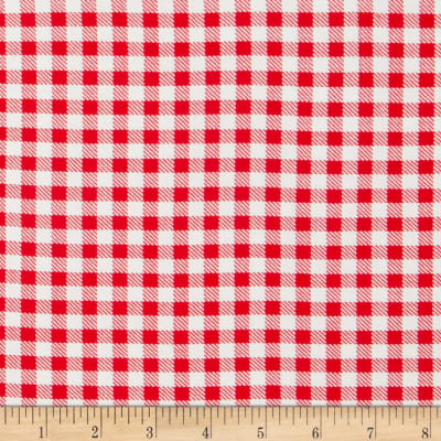 Rayon Challis Gingham Red