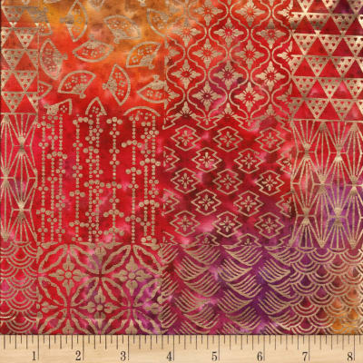 Textile Creations Urban Ethnic Metallic Patch Pink/Yellow/Orange